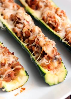 Zucchini boats filled with a delicious and flavorful filling!