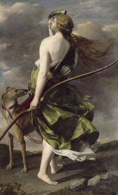 Diane chasseresse Musée des Beaux-Arts, Nantes) d'Orazio Gentileschi Orazio Gentileschi, Artemisia Gentileschi, Roman Mythology, Greek Mythology, Potnia Theron, Rome Antique, Antique Art, Greyhound Art, Baroque Art