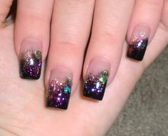 Black w/multi-color glitter.