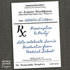Medical Field Graduation Party Invitation by michelepurnerdesigns, $15.00