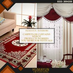 Carpets or curtains which products worries you more for festivals.  http://www.humayuninteriors.com/ Call us +021-34964523 , 34821297 , 34991085 Shop no: CA-5,6,7 hassan center, University Road Gulshan-e-Iqbal Karachi Pakistan  #Banquets_carpets #Commercial_carpets #Office_carpets #Berber_carpets #Loop_carpets #Highpile_carpets #Masjid_carpets #Contemporary_rugs #Area_rugs #Centerpieces #Abstract_modern_rugs #Marquee #Shadihallmarquee #Vinyl #Woodenfloorng #Jaeynamaz…