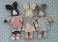 Finishing touches (Little Cotton Rabbits) Knitted Stuffed Animals, Knitted Bunnies, Knitted Teddy Bear, Handmade Stuffed Animals, Knitted Animals, Crochet Bunny, Knitted Dolls, Crochet Toys, Knitting For Charity