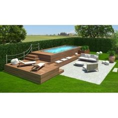 Cool Small Backyard Pool Ideas Landscaping Design Browse swimming pool designs to get inspiration for your own backyard oasis. Discover pool deck ideas and landscaping options to create your poolside dream. Above Ground Pool Landscaping, Above Ground Pool Decks, Backyard Pool Landscaping, Backyard Pool Designs, Above Ground Swimming Pools, Small Backyard Pools, In Ground Pools, Outdoor Pool, Landscaping Design