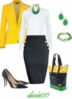 9/10 as long as skirt is long enough to cover the knee.  Love the mix of navy with green and yellow.  Great for work.  Don't like the neck so high and buttoned up, would feel choked.  If can be worn unbuttoned at top with that style necklace would like it.