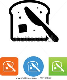 Bread with butter symbol for download. Vector icons for video, mobile apps, Web sites and print projects.