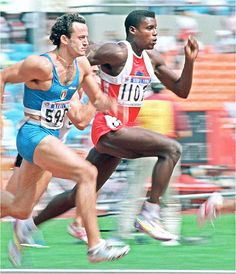 Mennea and Carl Lewis 1988 Olympic Athletes, Olympic Sports, Olympic Games, Olympic Gymnastics, 1988 Olympics, Summer Olympics, African American Heroes, Carl Lewis, Athletic Men