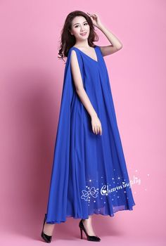 7f929a9edde 110 Colors Chiffon Blue Long Party Evening Wedding Sundress Maternity Dress  Summer Holiday Beach Dre