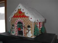 Indoor Crafts, Christmas Village Houses, Craft Patterns, Plastic Canvas, Needlepoint, Christmas Holidays, Gingerbread, Pattern Design, Scrap