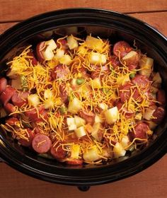 Cheddar Vegetable Sausage Casserole: 1 (10 oz) Package of frozen mixed vegetables, 3 large potatoes diced, 2 Packages of of sausage browned and sliced into pieces, 1 (10 oz) Can of cheddar cheese soup, 1 (10 oz) Can of cream of celery soup, 1 Cup of shredded cheddar cheese. Mix all ingredients together in slow cooker. Cook on LOW for 6 hours.