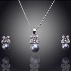 14k Gold Filled Austrian Crystal Grey Pearl Necklace Set