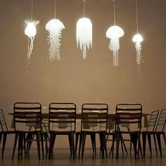 Jellyfish inspired pendant lights