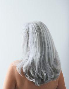 Silver hair.