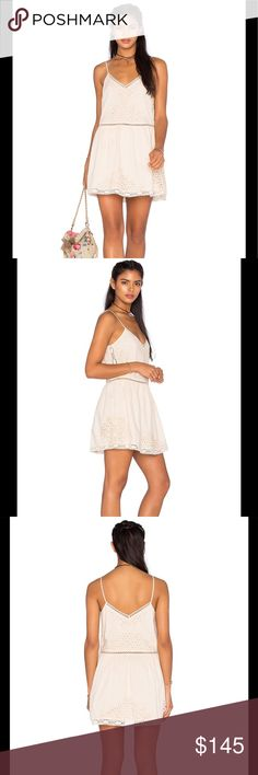"TULAROSA Embroidered Lace Dress The LA brand TULAROSA features a refined vintage-inspired line that is designed for the romantic and wild at heart. This is such a beautiful dress with its embroidered lace and braided detailing. 100% cotton Hand wash cold Fully lined Braided shoulder straps Embroidered lace detail Measures approx. 32"" in length Color - Natural Tularosa Dresses Mini"