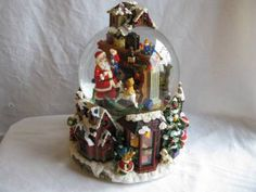 large christmas musical light up spinning snow globe santa is comming to town - Large Christmas Snow Globes