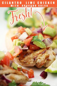 This Cilantro Lime Chicken with Fresh Avocado Salsa is delicious served with rice for a fresh tasting family dinner.  It's also a heart healthy recipe!