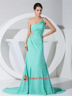 128.00$  Watch now - http://vilyz.justgood.pw/vig/item.php?t=i0gxpb8849 - Mint One Shoulder Chiffon Beaded Long Prom Dresses With Trains
