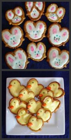 Place pretzels on a Nonstick Mat.  Melt candy coating.  Once candy coating is melted, place a small amount inside each pretzel until the 3 holes are filled or with the bunny, you can just fill the holes enough so that the pretzel still shows as a divider line.  Let the candy coating set for about 15 minutes.  Once set, use Foodoodlers to draw the bunny face and ears.  For the duck, I used an orange chocolate coated sunflower seed for the beak and a Foodoodler to draw the eye.