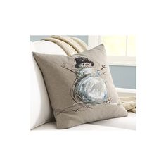 Hand-Painted Snowman Linen Pillow Cover | Pottery Barn- have had this idea for a couple years..gonna try it this year