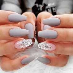 Accent nails: increase your mani in 7 easy ways - # accent nails # types . - Accent nails: increase your mani in 7 easy ways – # Accent nails … – Estella K. Grey Matte Nails, Coffin Nails Matte, Best Acrylic Nails, Black Nails, Marble Nails, Gray Nail Art, Matte Black, Light Pink Acrylic Nails, Fancy Nail Art