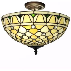 This 16-inch inverted Tiffany-style ceiling lamp is definitely a must have light fixture. It hangs about 10 inches high from the ceiling.