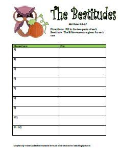Bible Lessons for Kids: Free Fall Printable Activity - Beatitudes