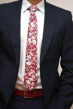 Mens Tie Floral Handmade Cotton Men's necktie by BoomBowTie View Signature Designer Style Cufflinks at https://premiumcuffs.com