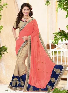 Hina Khan Pink Georgette With Velvet Zari Work Designer Saree  http://www.angelnx.com/Sarees/Bollywood-Sarees#/sort=p.date_added/order=DESC/limit=32/page=2