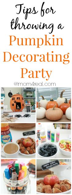 Tips for throwing a pumpkin decorating party and tons of pumpkin decorating ideas! #pumpkindecorating #ElmersGlue #Painters
