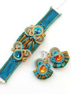 Soutache and shibori bracelet - Skyfall