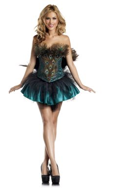 Dress up for a great evening party in this seductive 4 Piece Princess Peacock costume. Includes Corset, Skirt, Tail, Built-in Petticoat. Colors: Green Available in size: S/M , M/L Peacock Halloween Costume, Costumes Sexy Halloween, Hallowen Costume, Corset Costumes, Mardi Gras Costumes, Halloween Fancy Dress, Adult Costumes, Costumes For Women, Costume Ideas
