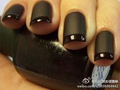 Matte black with black french tips
