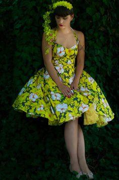 lazy eye yellow SOFIA dress