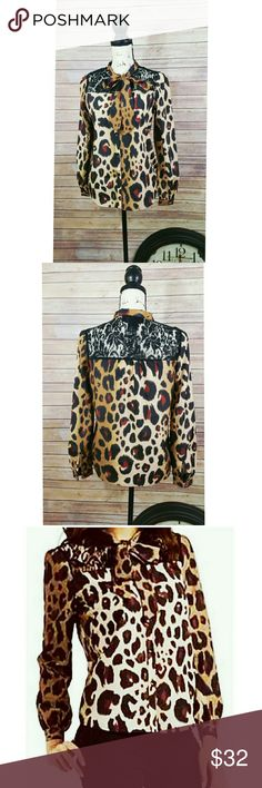 Kardashian leopard blouse with bow size small Kardashian Kollection Leopard blouse with pussy bow size small.This is a versatile blouse,look classy and sophisticated at work and pair this blouse with a black dress pants or go for a fun and flirty look and pair it with a hot tight leather pant. Kardashian Kollection Tops Blouses