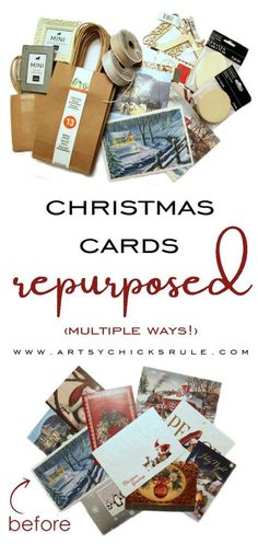 Christmas Cards Repurposed .....MULTIPLE ways!! Don't throw them out or stick them in a drawer...use them! artsychicksrule.com #christmascardsrepurposed #cardsrepurposed #repurposedprojects #diychristmasornament #christmascrafts