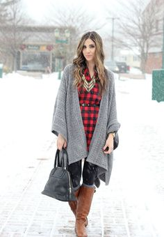Buffalo Plaid Dress, Blanket Poncho
