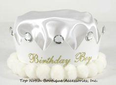 Boys White Jeweled Birthday Crown Embellished Pom Pom Satin Party Hat Accessory #PartyHatsLLC