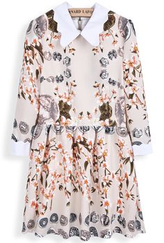 Apricot Long Sleeve Vintage Coins Floral Print Dress - Sheinside.com