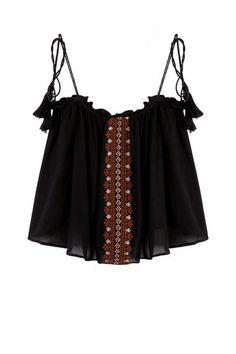 Вышивка рукавов Cami Top с кисточкой Детали пояса