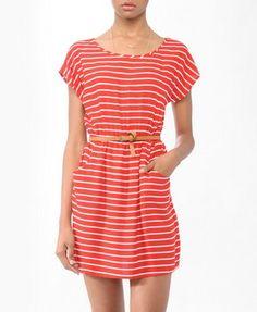 Striped Dress w/ Belt | FOREVER21. loveeeee it