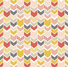 Pink Herringbone Arrow Fabric  Red Pink Gray by Spoonflower