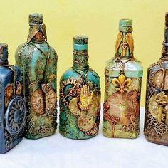 Decorative Bottles : -Read More – Empty Wine Bottles, Wine Bottle Art, Diy Bottle, Recycled Jars, Glass Bottle Crafts, Jar Art, Altered Bottles, Cork Crafts, Bottle Painting