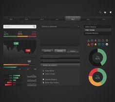 Dark Chart UI Kit - 365psd