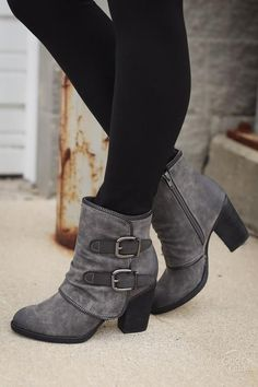 Can't Get Over You Booties - Grey
