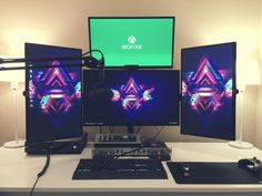 37 The Best Gaming Desk Decor Ideas With Computer Setup Source by kartonyotohalahdalah Best Pc Gaming Setup, Good Gaming Desk, Gaming Computer Setup, Gaming Room Setup, Pc Setup, Gaming Rooms, Office Setup, Office Desk, Custom Pc