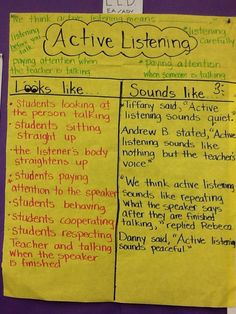 T-Chart for Social Skills Focus on Active Listening