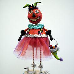 Halloween Pumpkin Folk Art Sculpted  Art Doll