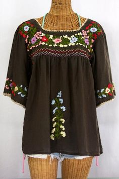 "Siren's ""La Marina"" Mexican blouse in brown with multi color embroidery and scallop crochet trim, $52.95.  #boho #summer #emroidery"