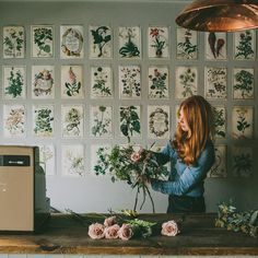 Love those floral prints open the wall! Swallows & Damsons Studio Tour on Design*Sponge Botanical Illustration, Botanical Prints, Floral Prints, Impressions Botaniques, My Flower, Flower Wall, Cactus Flower, Feng Shui, Planting Flowers