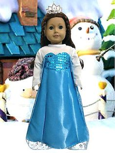 2pc-FROZEN-Elsa-Princess-Dress-tiara-Doll-Clothes-for-American-Girl-18-Doll