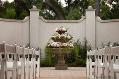 Terri Smith Photo- Mission San Luis- Tallahassee Weddings- Our courtyard fountain all dressed up!